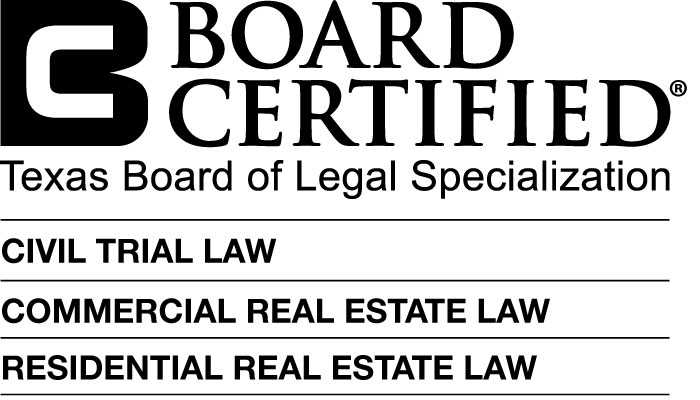 Credential logo for Board Certified in Civil Trial Law, Commercial Real Estate Law, Residential Real Estate Law - Texas Board of Legal Specialization